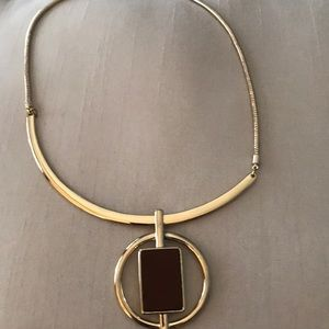 WHBM gold necklace with brown pendant